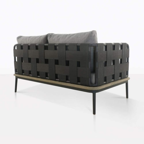 space right arm loveseat with blend fog cushions rear view
