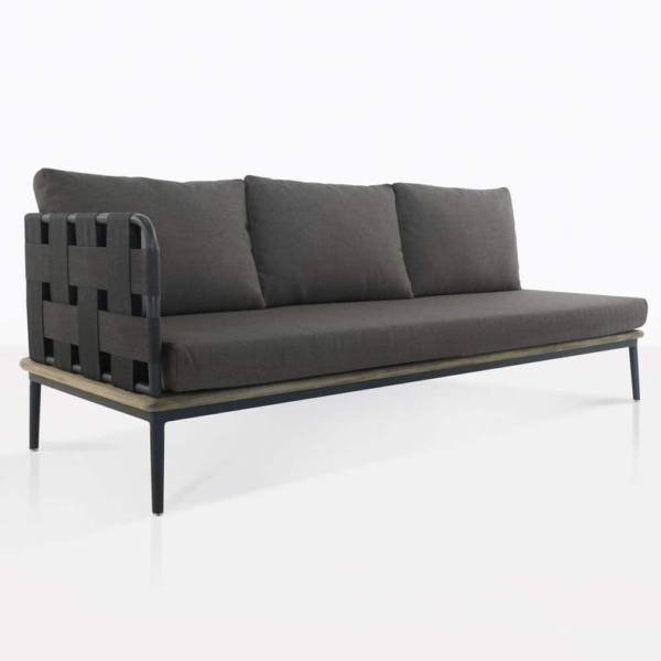 space right arm sofa with blend coal color cushions