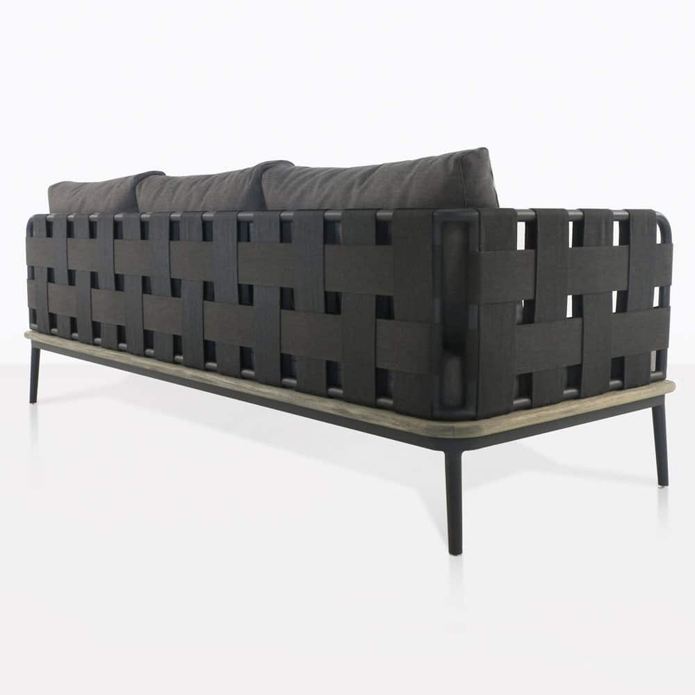 space right arm sofa with blend coal color cushions rear view