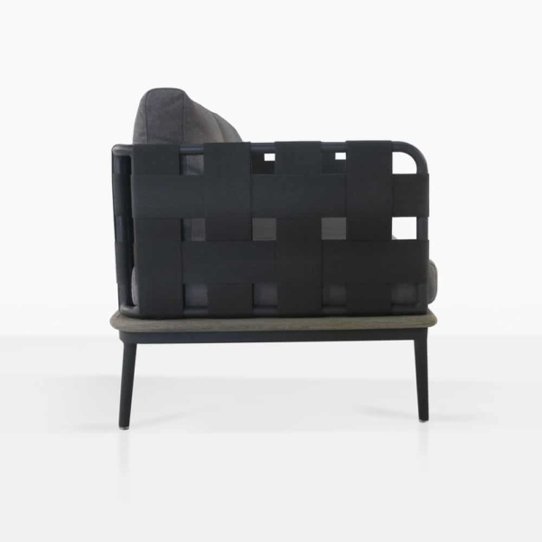 space right arm sofa with blend coal color cushions side view