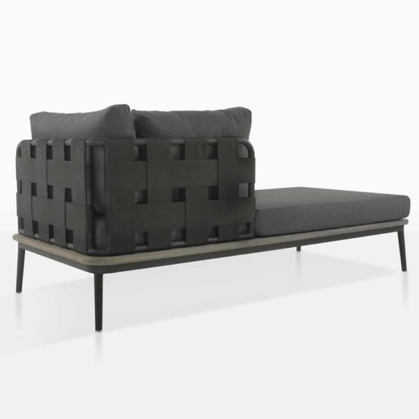 space right arm daybed with blend coal cushion color rear view
