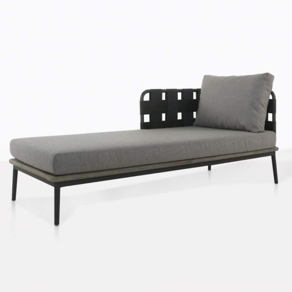 space right arm daybed with blend fog color cushions and one pillow