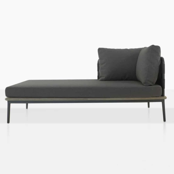 space right arm daybed with blend coal color cushions front view