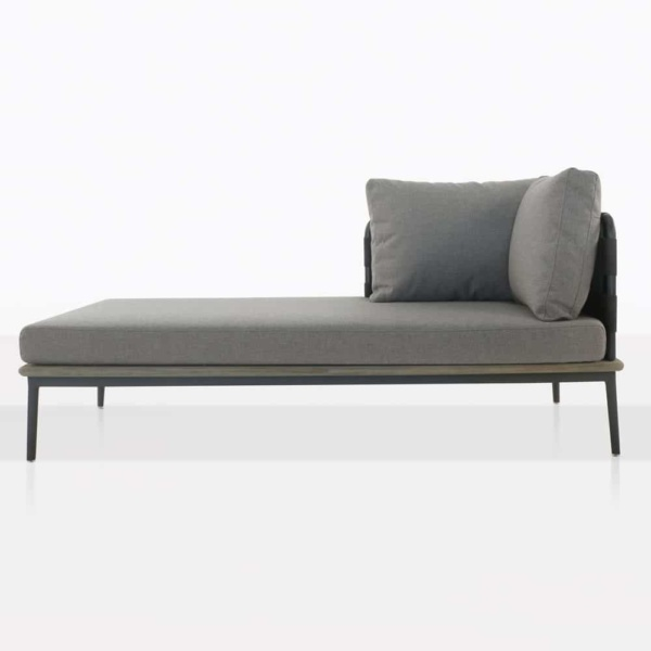 space right arm daybed with blend fog color cushions front view