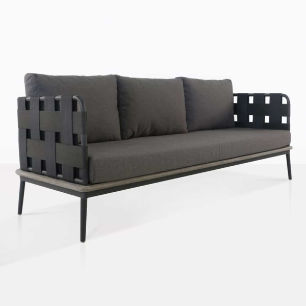 space sofa with blend coal color cushions