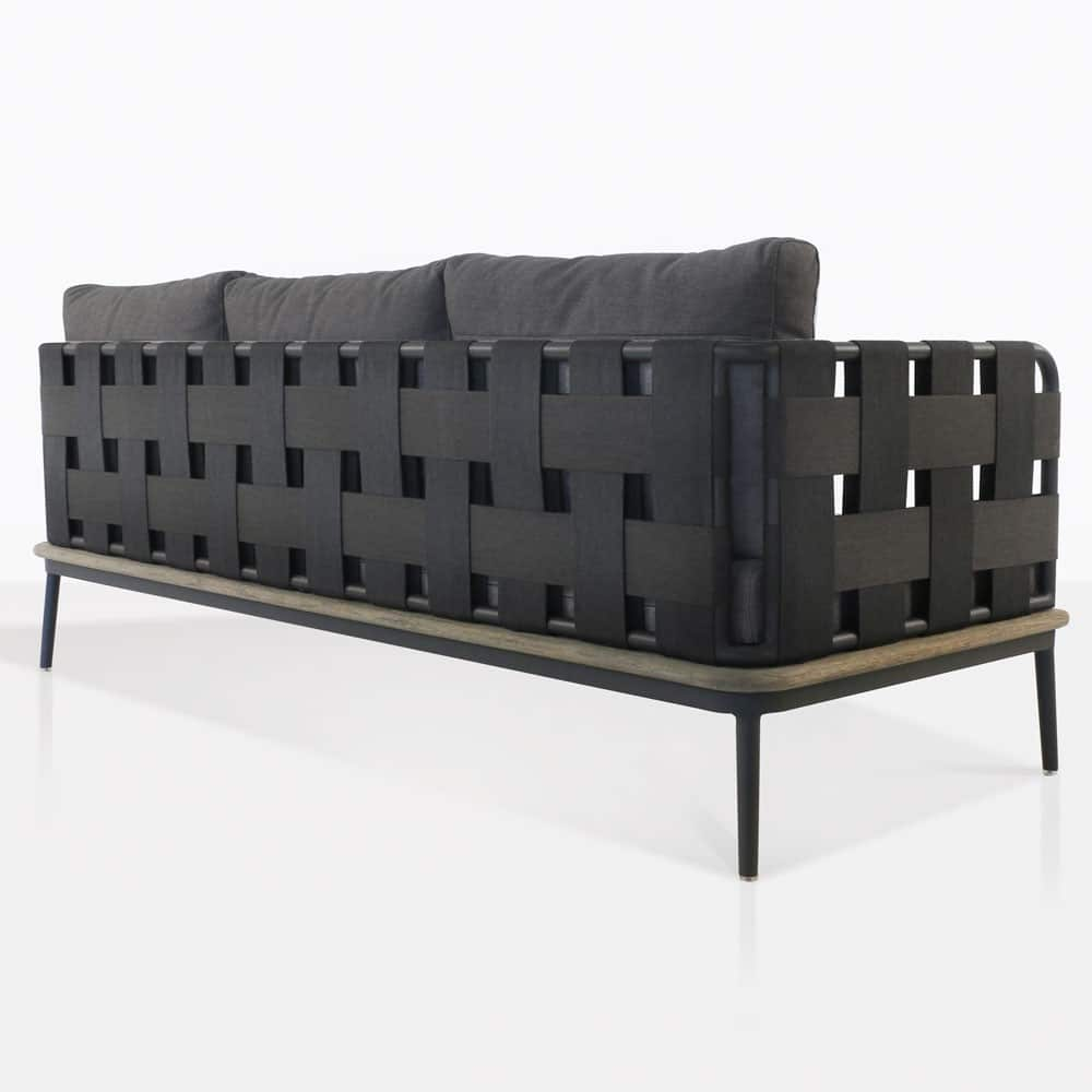 space sofa with blend coal color cushions rear view