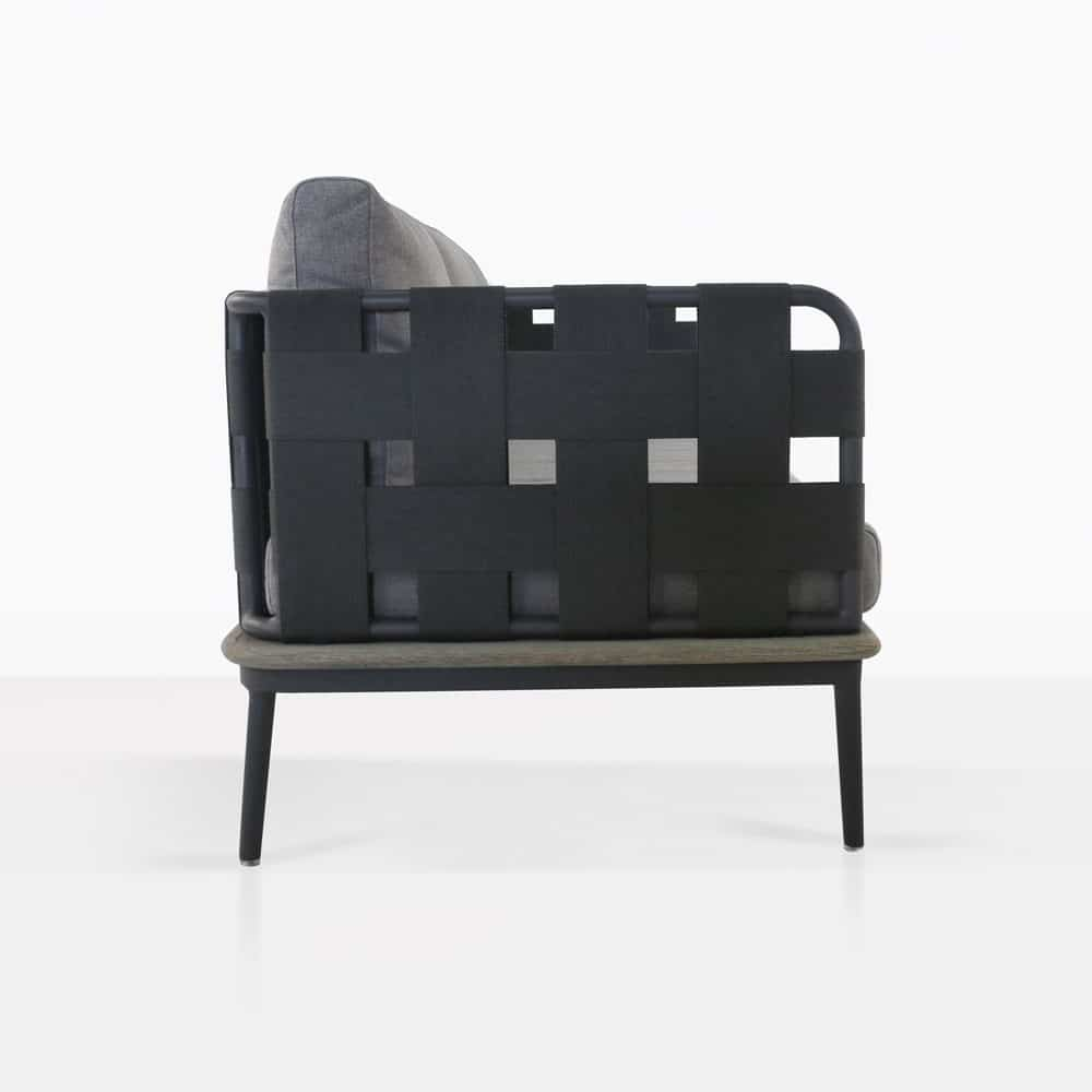 space sofa with blend fog color cushions side view