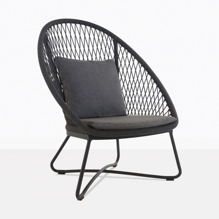 zaha lounge chair with high back in cross weave