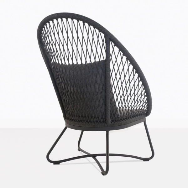 zaha lounge chair with high back in cross weave rear view