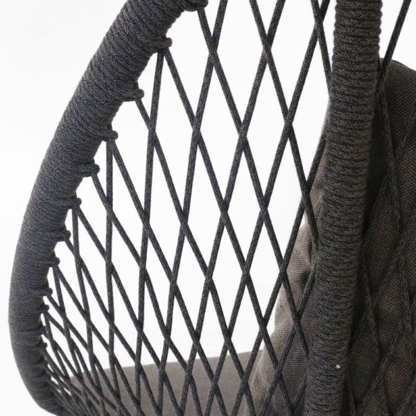zaha lounge chair with high back in cross weave closeup view