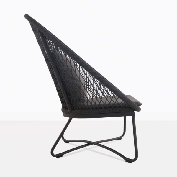 zaha lounge chair with high back in cross weave side view