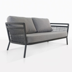usso loveseat with fog color cushions