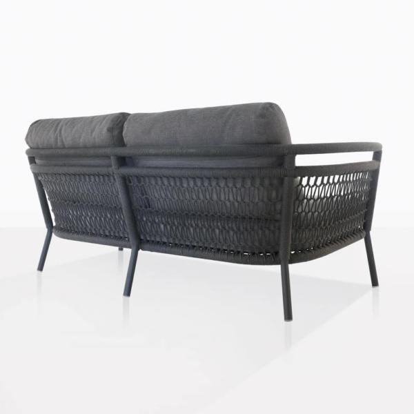 usso loveseat with fog color cushions back view