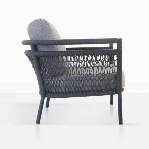 usso club chair with fog color cushions side view