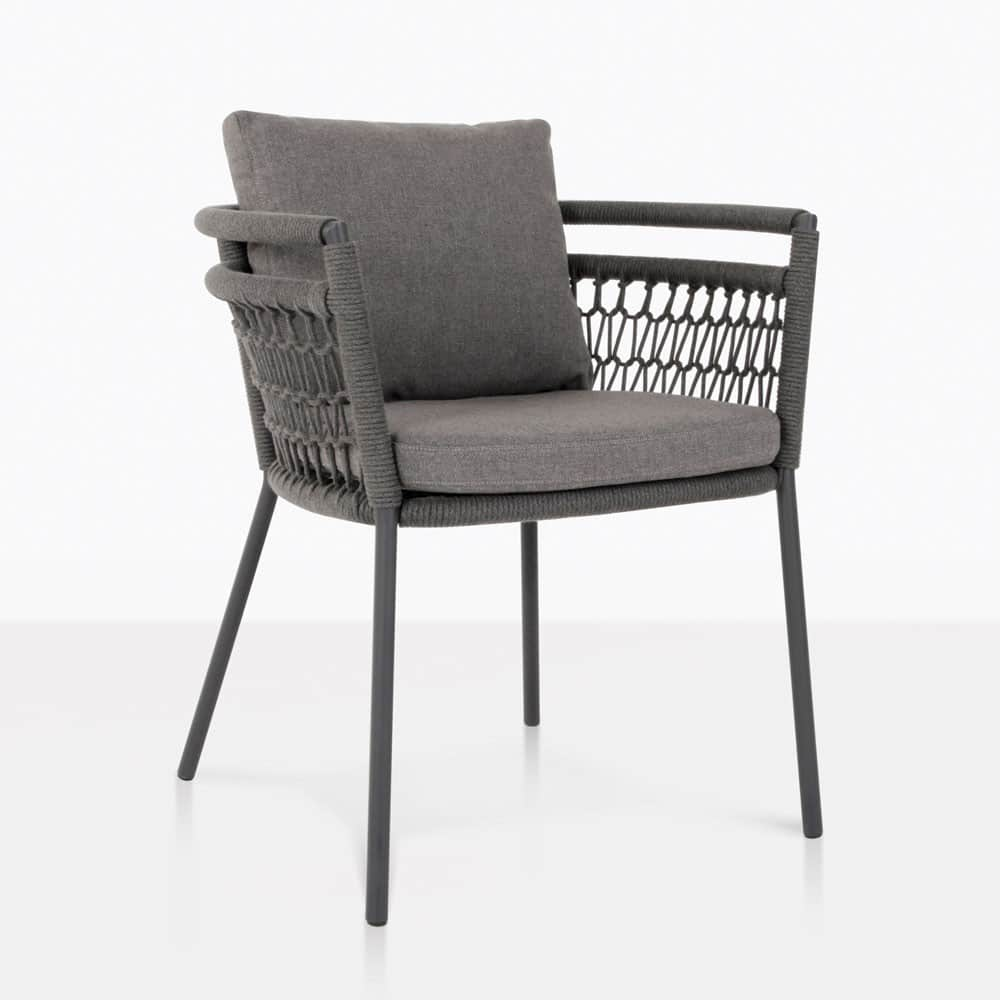 usso outdoor dining chair with coal color cushions