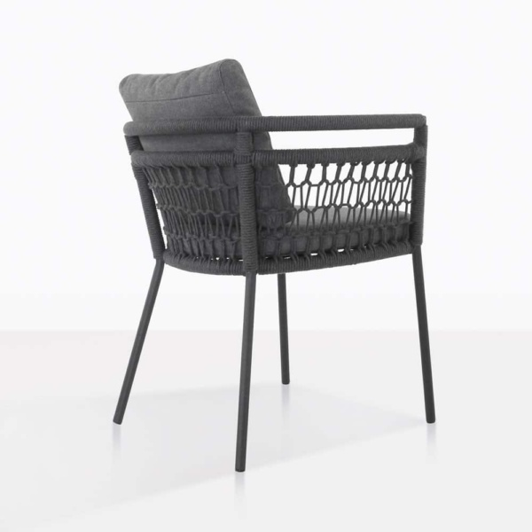 usso outdoor dining chair with coal color cushions rear view
