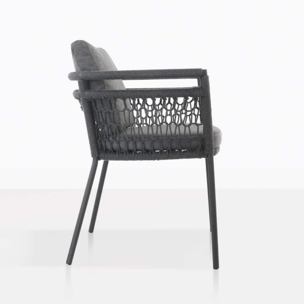 usso outdoor dining chair with coal color cushions side view
