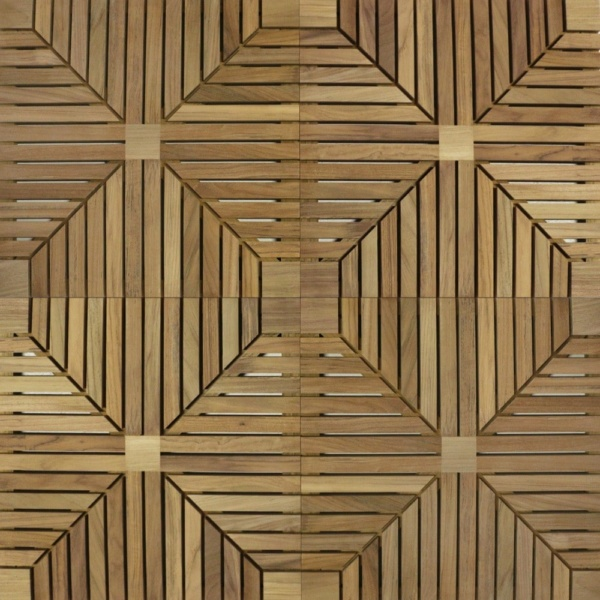 a-grade teak floor tiles closeup view
