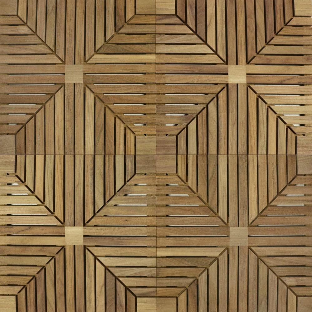 a-grade teak floor tiles closeup view