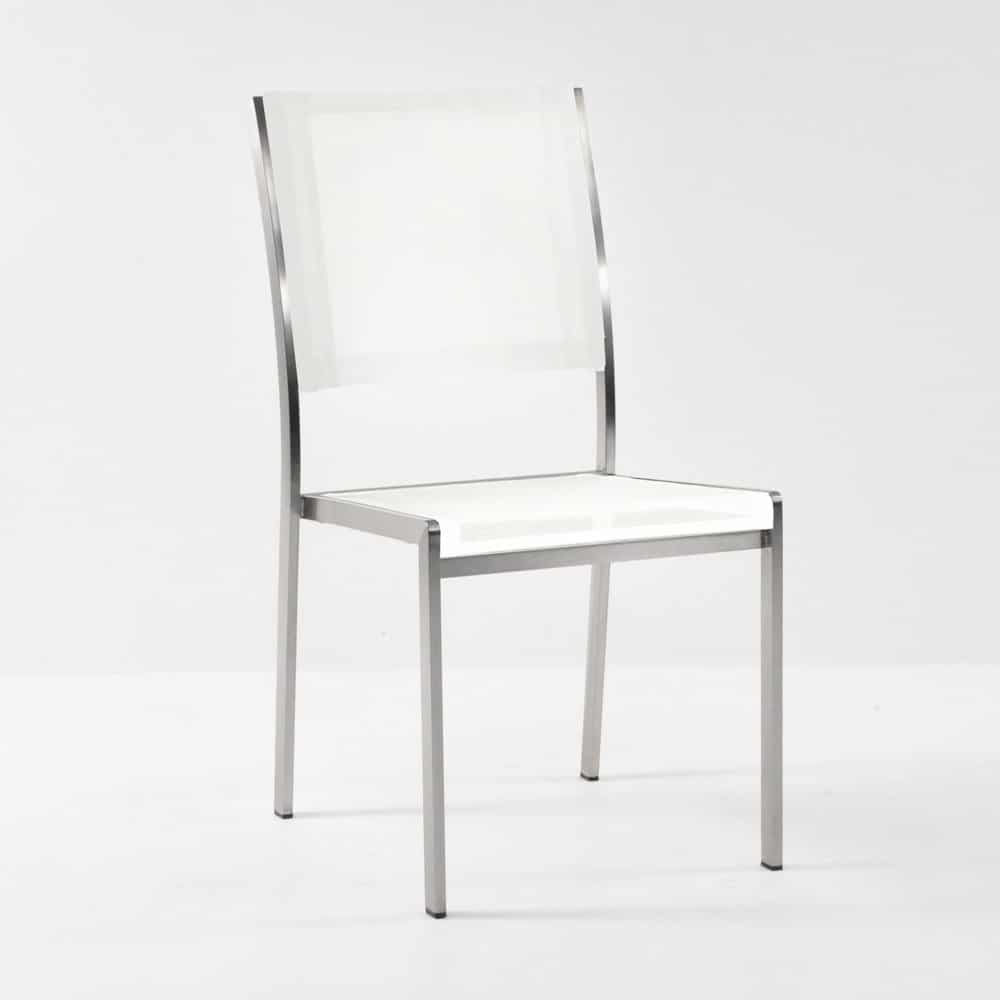 classic batyline stainless steel stacking chair in white