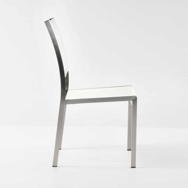 classic batyline stainless steel stacking chair in white side view