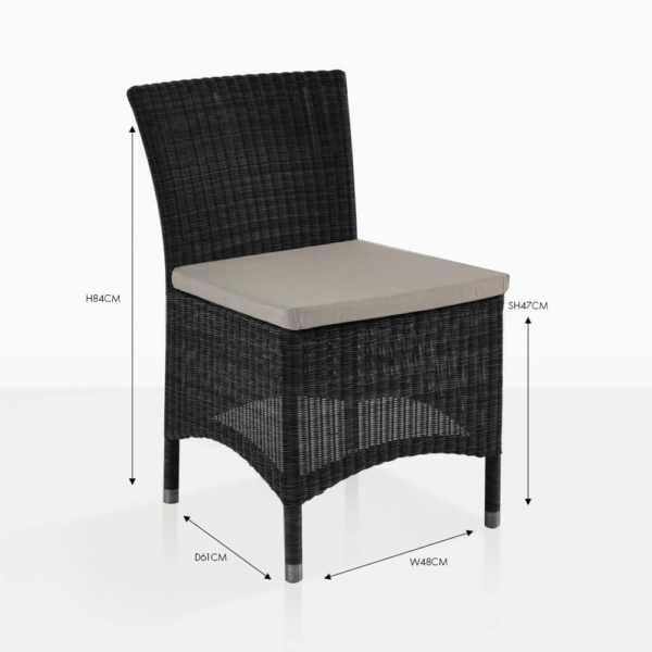 Enna side wicker dining chair black with tan cushion