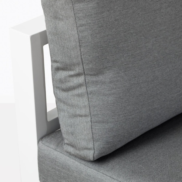 Amazon White Aluminum Chair And Cushion Closeup