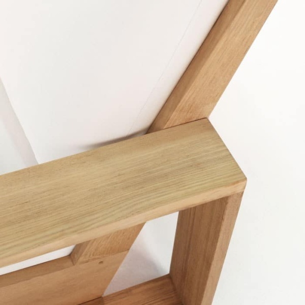 kuba outdoor teak club chair arm and seat close-up view