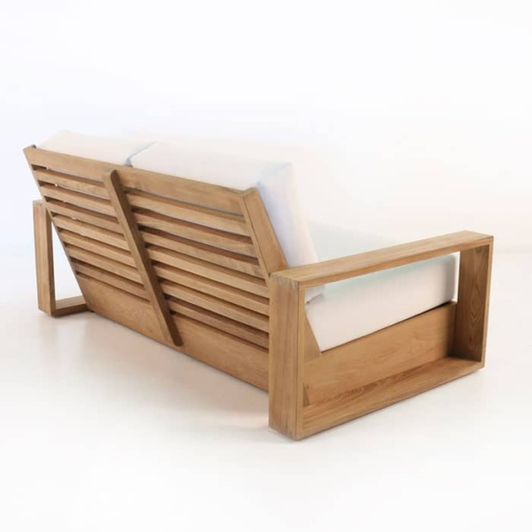 kuba outdoor teak loveseat rear view