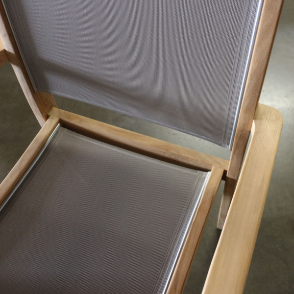 tango taupe teak dining chair close up