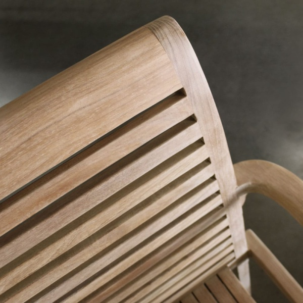 Treviso teak stacking dining chair close up