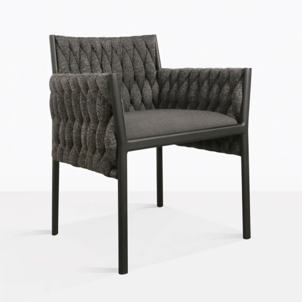 Calvino outdoor woven dining chair black angle