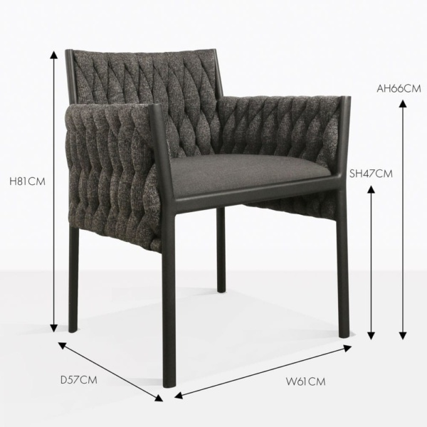 Calvino outdoor woven dining chair black