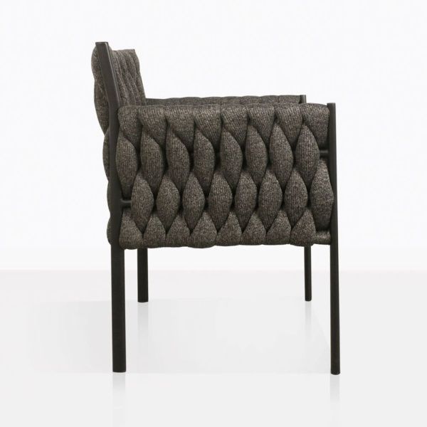 Calvino outdoor woven dining chair black side