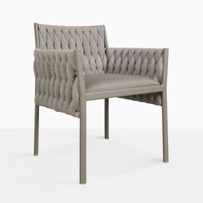 Calvino outdoor woven dining chair grey angle