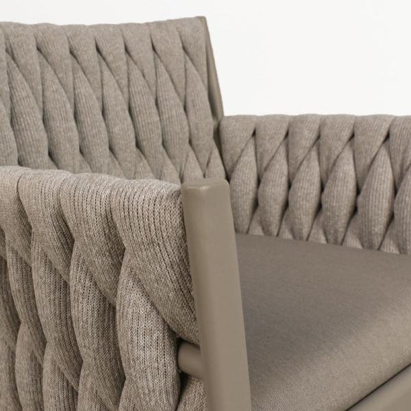 Calvino outdoor woven dining chair grey closeup