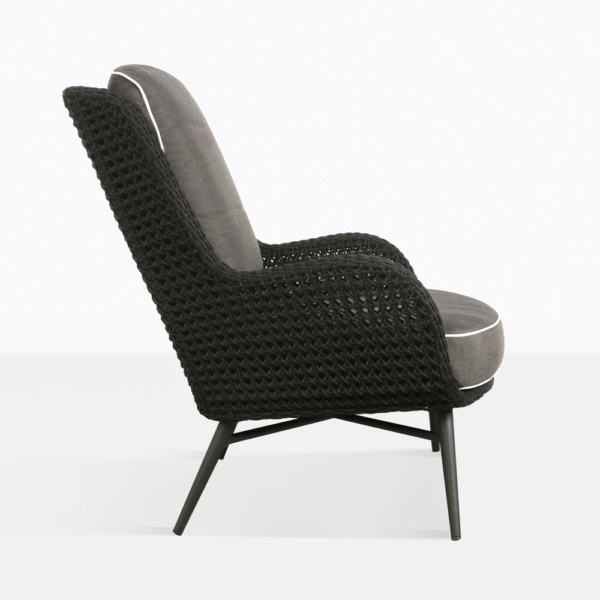 dream high back outdoor relaxing wicker chair black cushions side