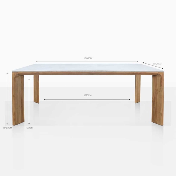 Parsley teak and concrete rectangular dining table