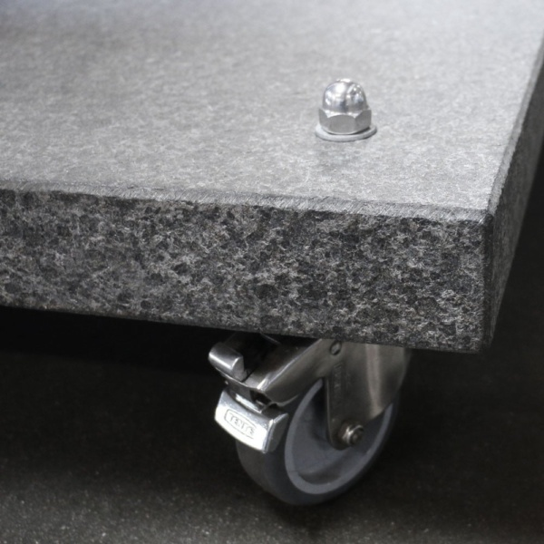 Antiuga Granite Umbrella Base Wheel Closeup