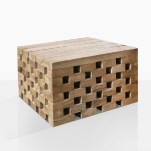 crossword teak organic side table low angle