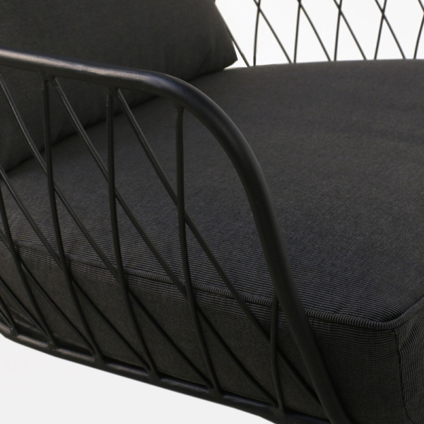lincoln chair steel black cushions outdoor relaxing closeup