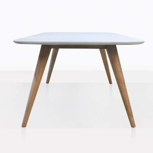 Natural Dining Table With Teak Legs and Concrete Tableop