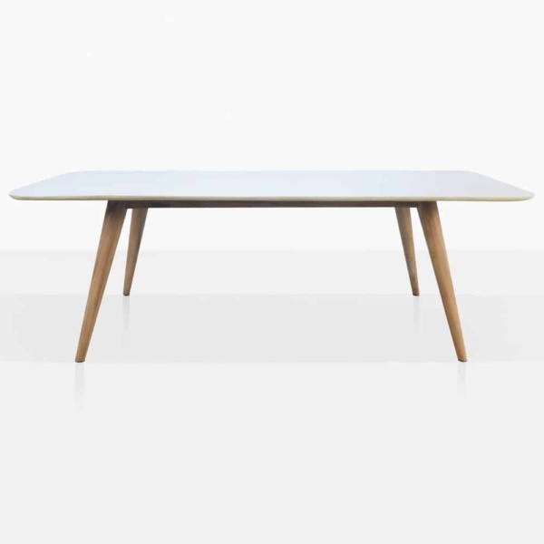 Natural Teak And Concrete Dining Table Side View
