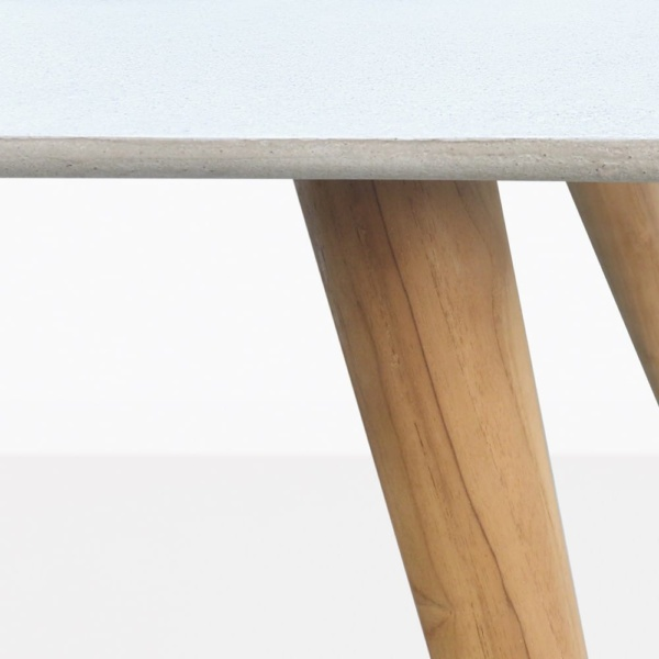 Natural Teak And Concrete Dining Table Closeup