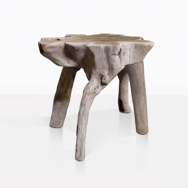 oro organic teak accent table side view