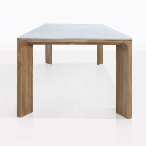 Parsley Teak and Concrete Rectangle Dining Table