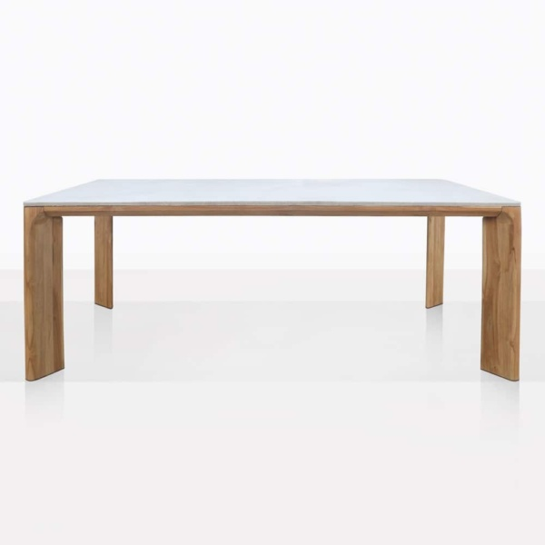 Parsley Concrete And Teak Rectangle Dining Table With Wide Legs
