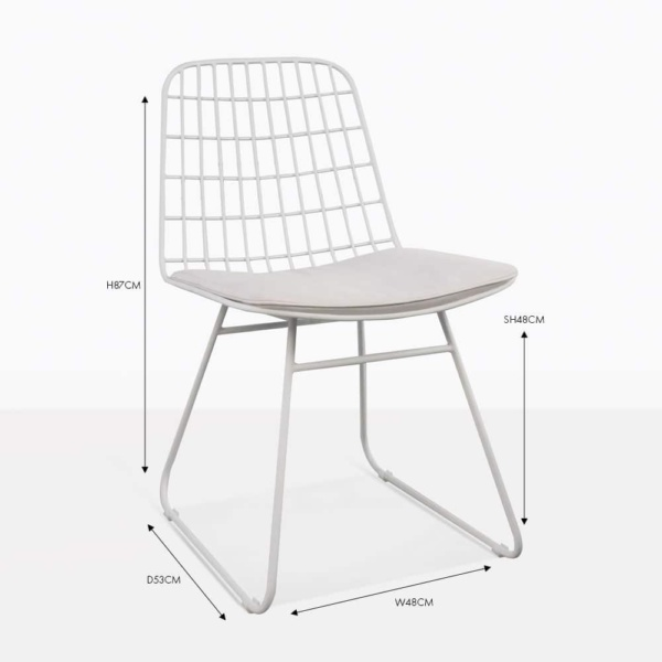 caloco side dining chair white with cushion