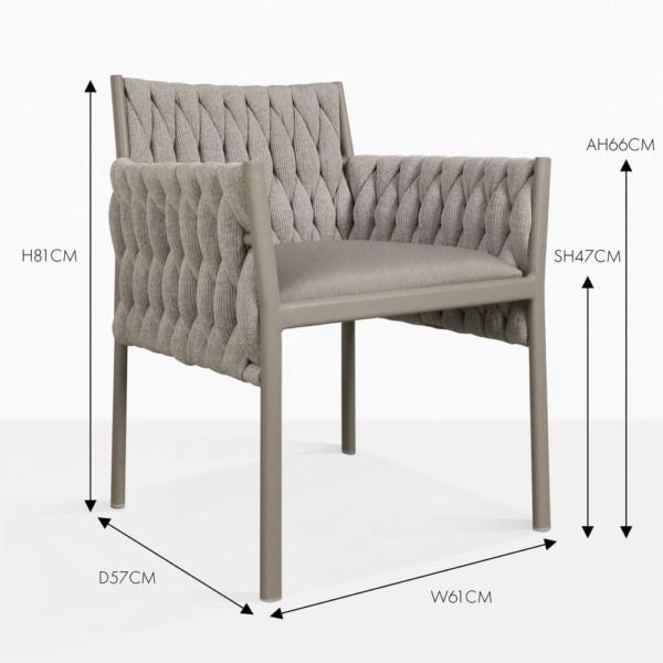 Calvino outdoor woven dining chair grey