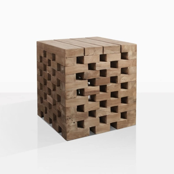 Crossword Puzzle Teak Side Table